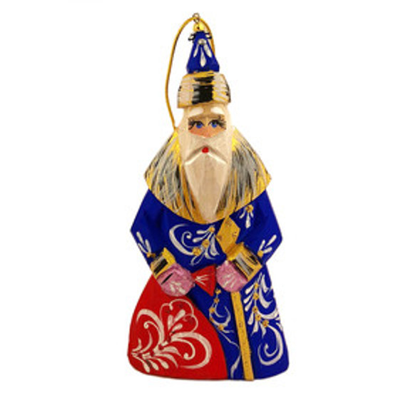 Blue Wooden Hand Carved Santa Ornament from Moscow Ballet made in Russia Front