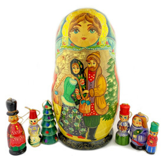 Hand carved and hand painted Russian Matryoshka set with ornaments inside