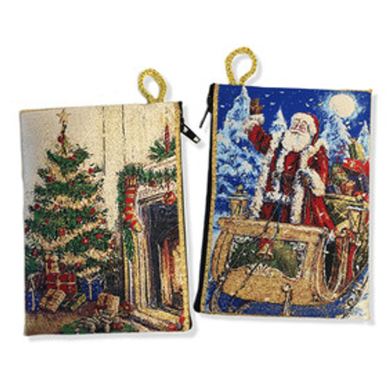 Santa Claus Woven Holiday Pouch Reversible
