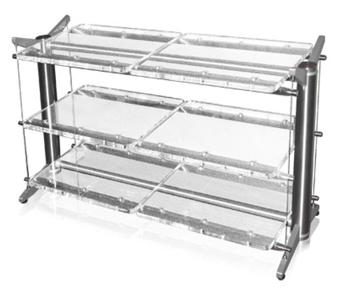 """This is a 40 wide stillpoints rack. Note the side by side 20"""" shelves. The 42-40-5 rack would be 42"""" tall and have 5 Grid shelves."""