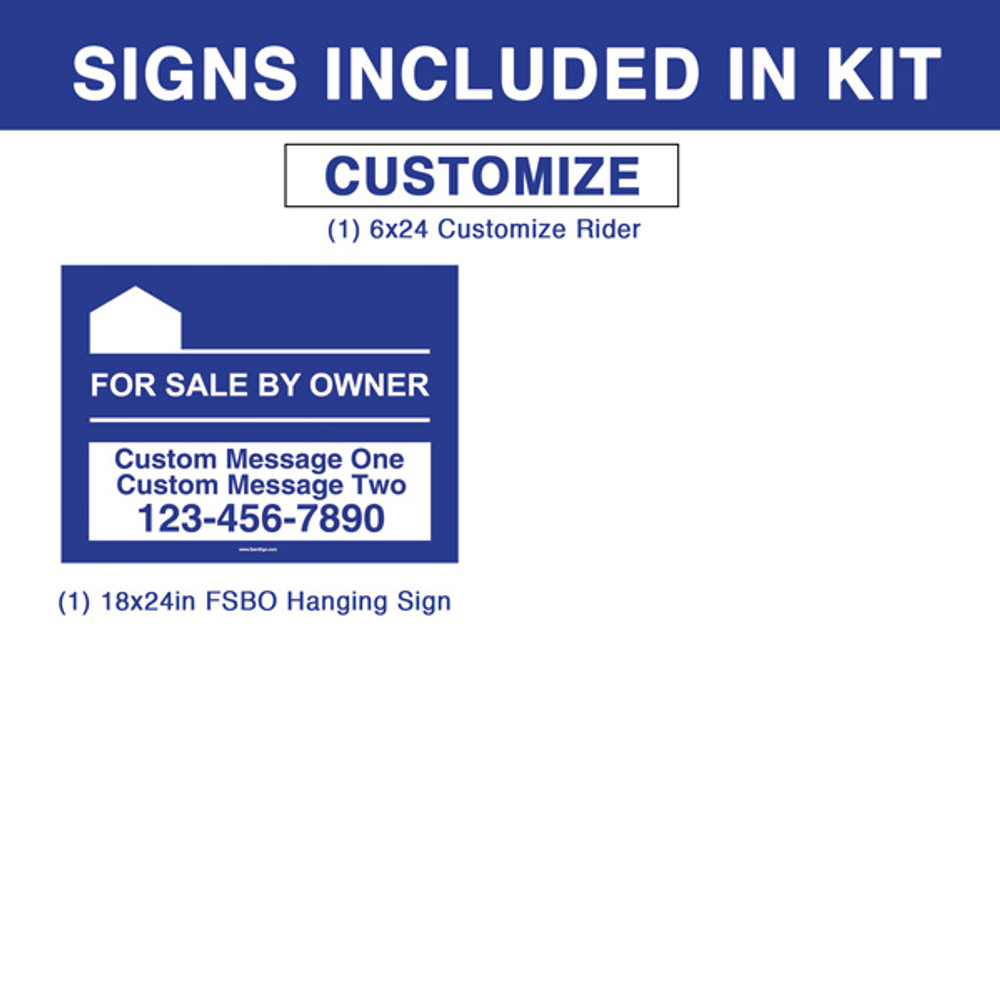 "Blue For Sale By Owner FSBO 18T x 24W Hanging Sign Kit - Real Estate Post 5' Tall 36"" Arm"