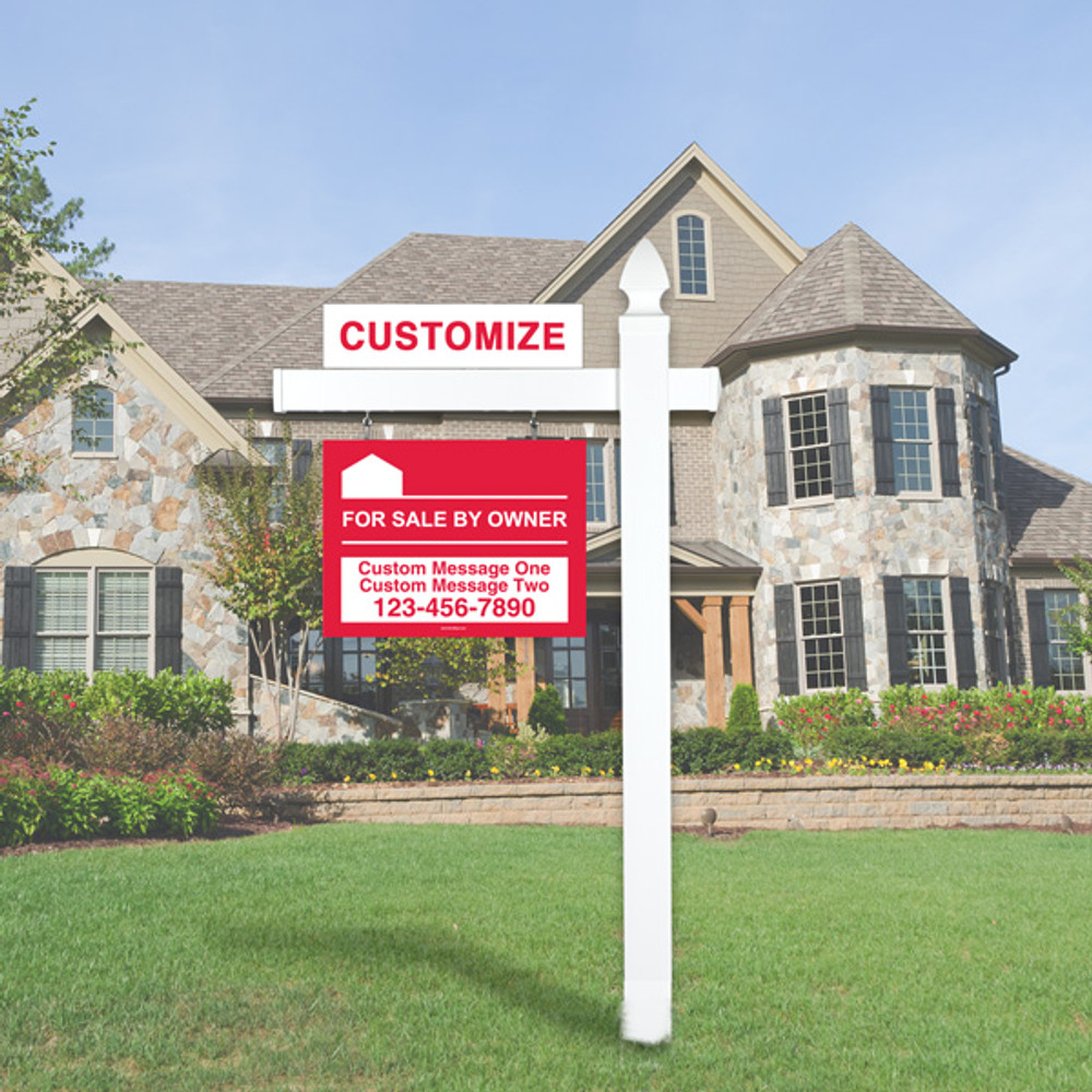 "Red For Sale By Owner FSBO 18T x 24W Hanging Sign Kit - Real Estate Post 5' Tall 36"" Arm"