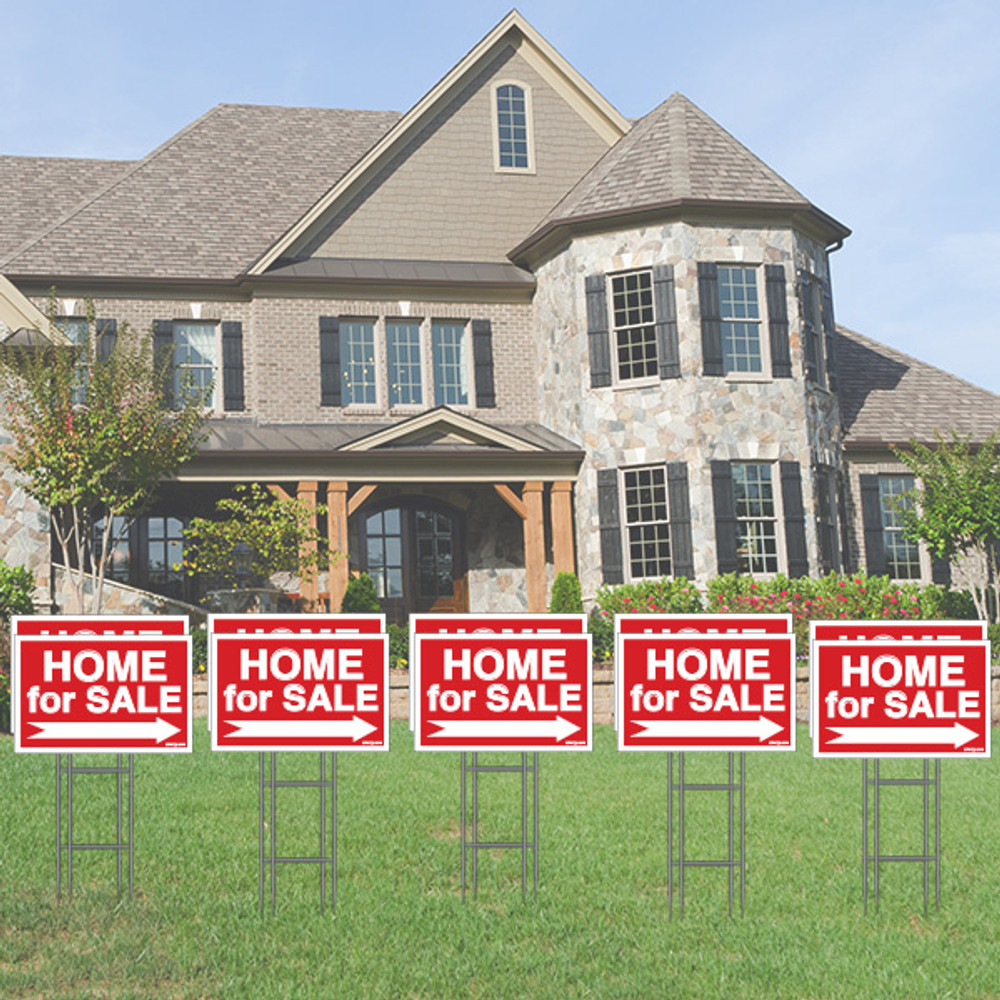Pack of 10 - Home for Sale - Directional Signs - Includes Stakes - 12T x 18W - Red