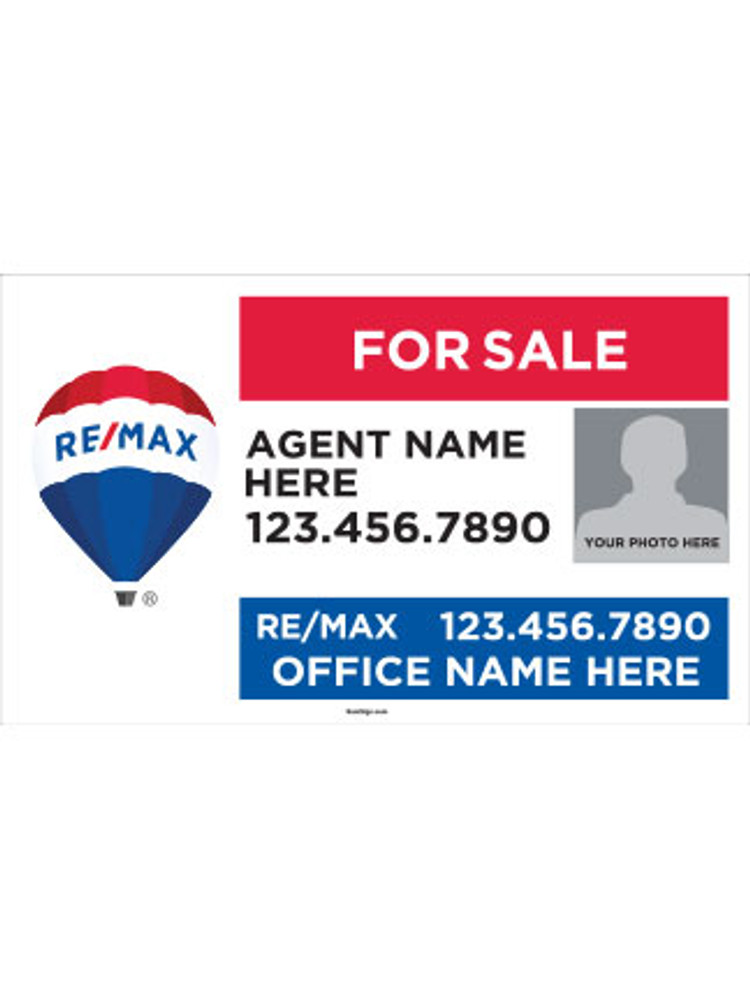 RE/MAX Yard Sign with Agent Photo – Style 3 – 18T X 30W
