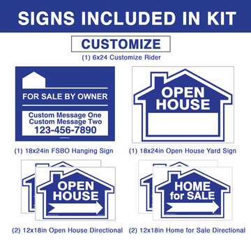 Deluxe Real Estate For Sale By Owner FSBO Sign Kit - Blue