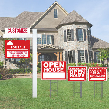 Deluxe Real Estate For Sale By Owner FSBO Sign Kit - Red