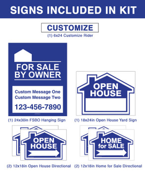 (1) Vinyl PVC Real Estate Post (1) 24 x 30 FSBO Hanging Sign (1) 18 x 24 Main Sign (4) 12 x 18 Directional Signs (1) 6 x 24 Rider
