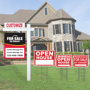 Large Deluxe Real Estate For Sale By Owner FSBO Sign Kit - Red/Black