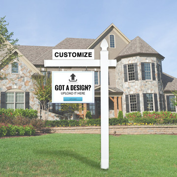 "Upload Your Own Design 18T x 24W Hanging Sign Kit -  Real Estate Post 5' Tall 36"" Arm"