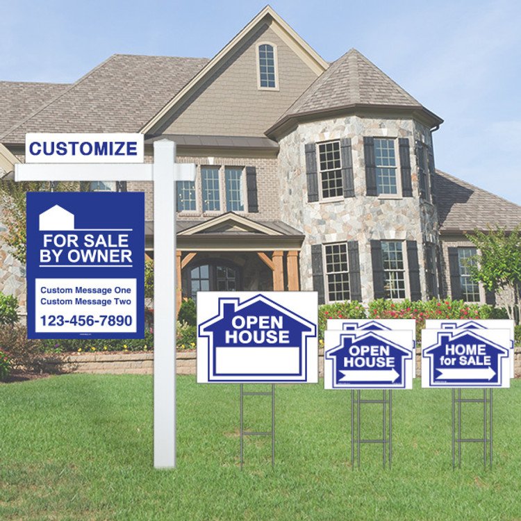 Large Deluxe Real Estate For Sale By Owner FSBO Sign Kit - Blue