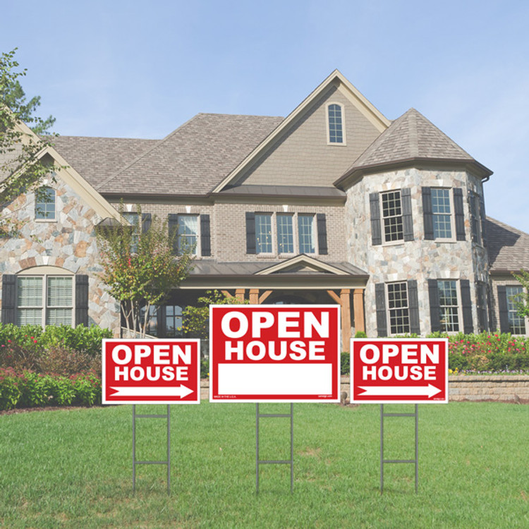 """Open House Sign Kit, (1) 18"""" X 24"""" Yard Sign, (2) 12"""" X 18"""" Directional Signs, (3) Wire Stakes"""