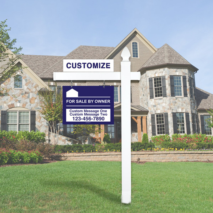 """Blue For Sale By Owner FSBO 18T x 24W Hanging Sign Kit - Real Estate Post 5' Tall 36"""" Arm"""