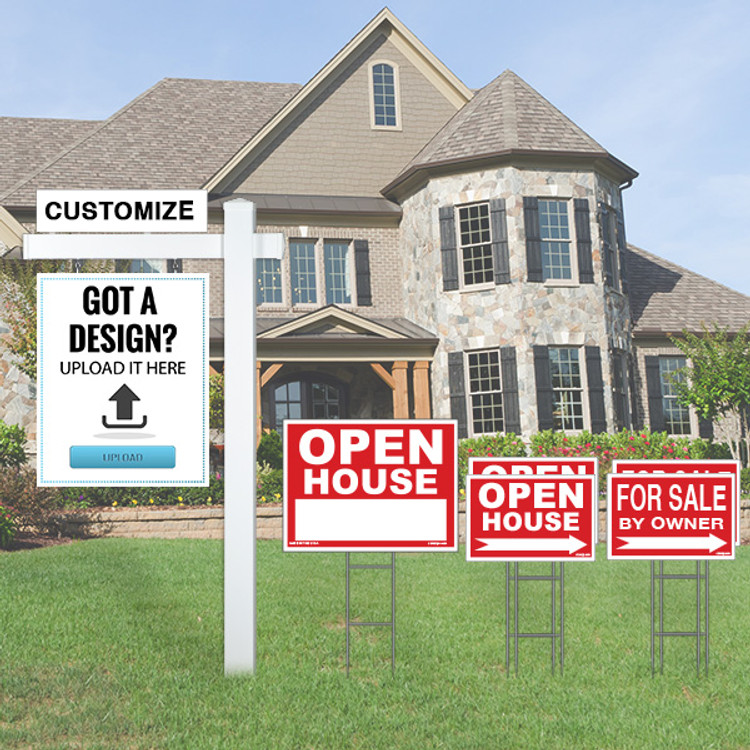 Large Deluxe Upload Your Own Design Sign Kit with Real Estate Post