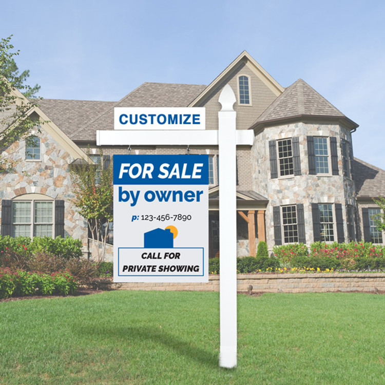 "Blue/Grey For Sale By Owner FSBO 30T x 24 W Hanging Sign Kit - Real Estate Post 6' Tall 36"" Arm"