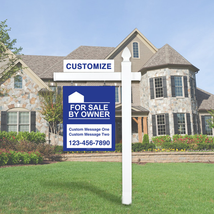 "Blue For Sale By Owner FSBO 30T x 24W Sign Kit - Real Estate Post 6' Tall 36"" Arm"
