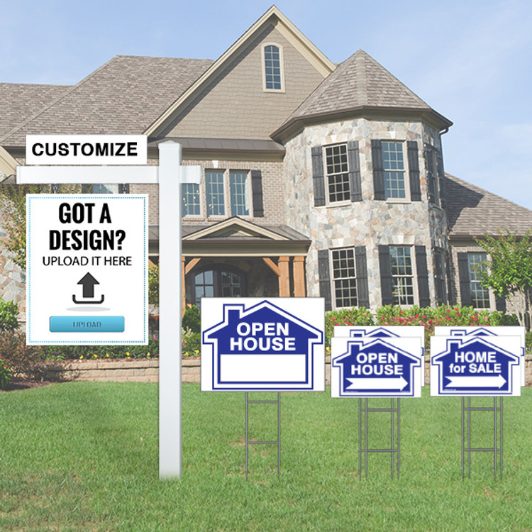 "Blue Deluxe Upload Your Own Design Kit - (1) 30Tx 24W Hanging Sign, (1) 18Tx24W Open House Yard Sign  (2) 12Tx18W Open House and (2)Home for Sale Directional - Real Estate Post 6' Tall 36"" Arm - Flat Cap"
