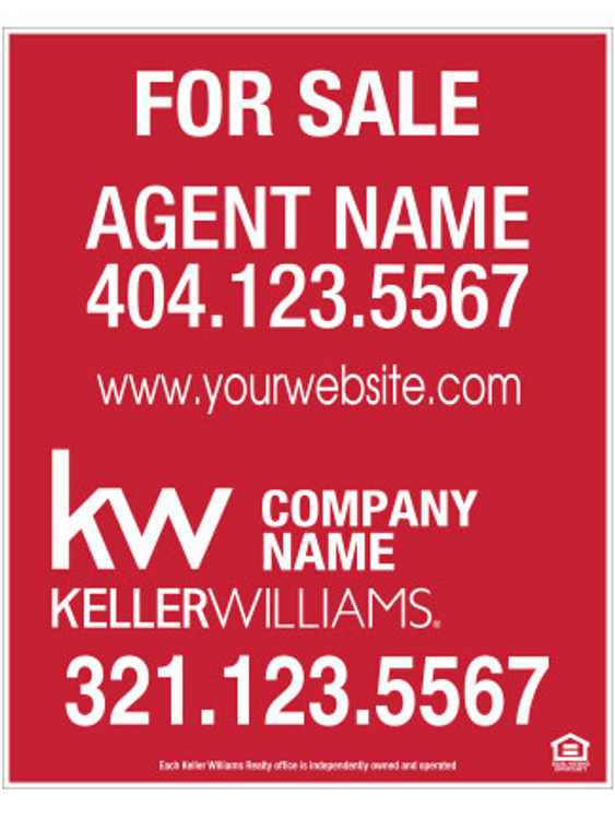 Keller Williams Hanging Sign - Solid Red – 30T X 24W
