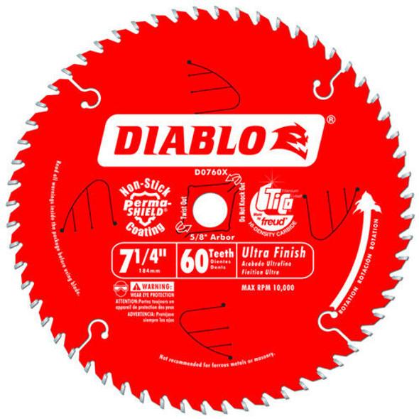 """Freud D0760A Diablo 7-1/4"""" x 60-Tooth Ultra Fine Finishing Circular Saw Blade wi"""