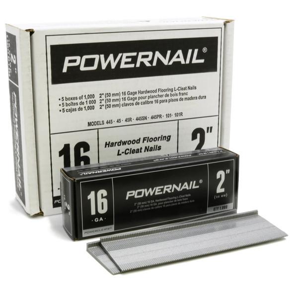"Powernail PowerCleat 16ga 2"" L-Cleat. Box of 5,000"