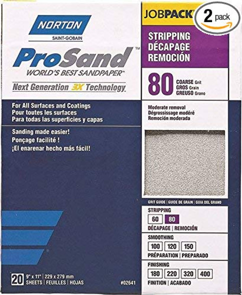 """St. Gobain ProSand 07660768174 Premium Sanding Sheet With Heat-Treated Abrasive, P80 Coarse Grit For Moderate Removal and Stripping, 9"""" x 11"""" (20 Sheets) 2 Pack"""