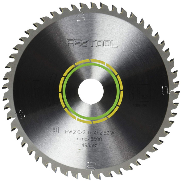 Festool 495381 Fine Tooth Cross-Cut Saw Blade For TS 75 Plunge Cut Saw - 52 Tooth