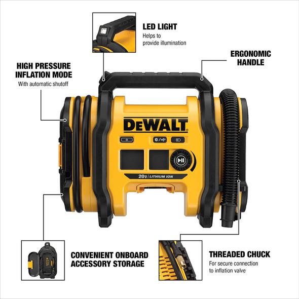 DEWALT 20V MAX Cordless Tire Inflator, Tool Only