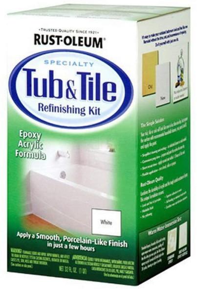 Rust-Oleum Tub And Tile Refinishing 2-Part Kit, White, Single, 32 oz