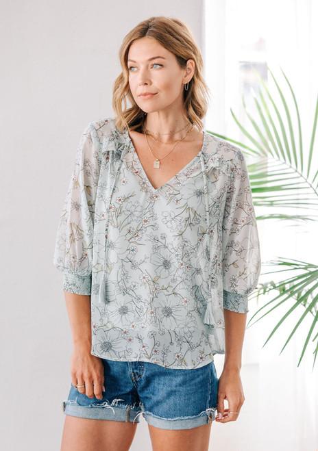 Floral Scrunch Sleeve Blouse