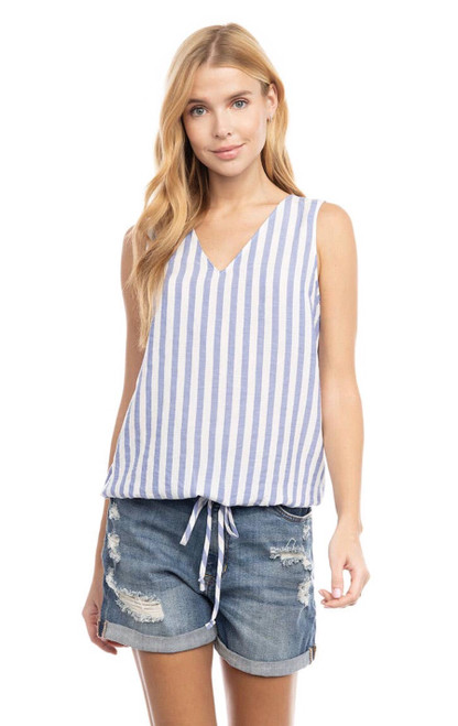 V Neck Top With Elastic Waist