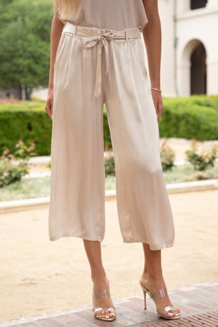 Slinky Wide Leg Pants With Belt