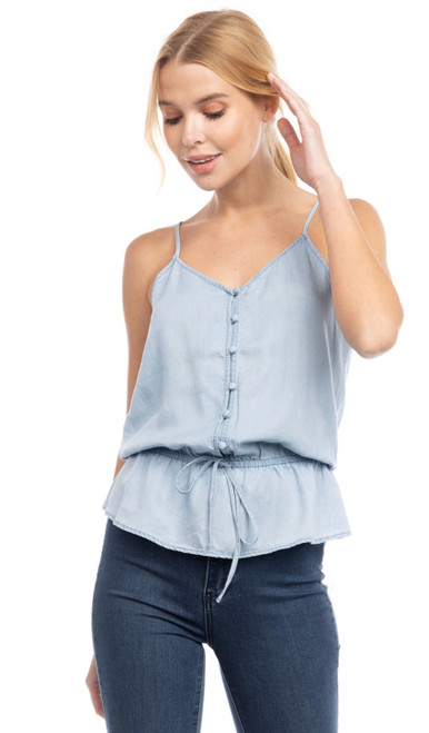 Button Cami With Elastic Waist