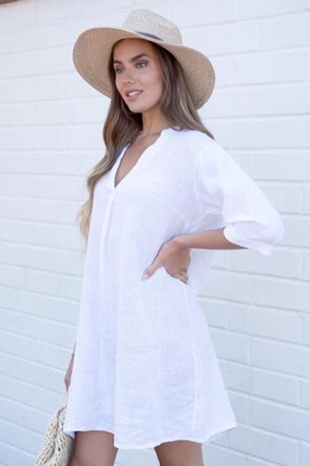 Vneck Shift Dress Linen