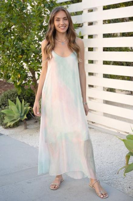 Rainbow Light Silk Maxi Dress