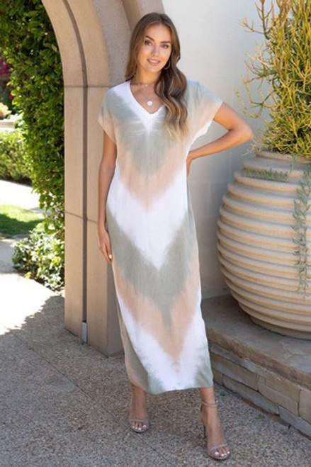 Chevron Maxi T-shirt Dress