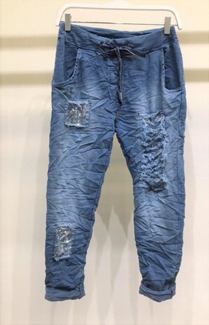 Sequin Patch Crinkle Joggers