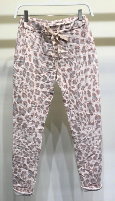 Two Tone Crinkle Joggers Animal