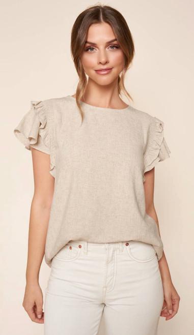 Kimberly Linen Ruffle Short Sleeve Top