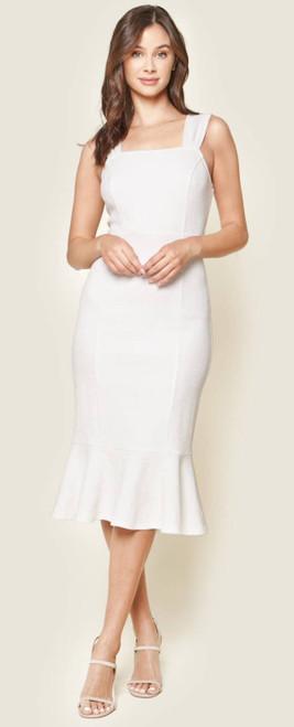 Ruffled Bodycon Midi Dresswhite One Size