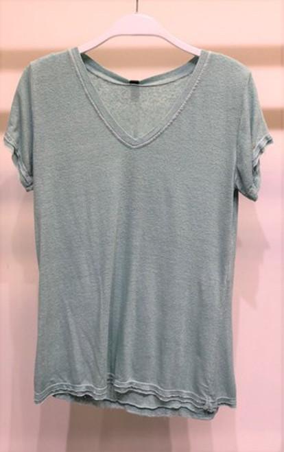 Linen Short Sleeve V Top