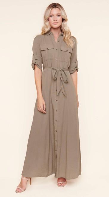 Safari Button Maxi Dress