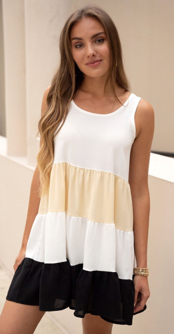 Tiered Colorblock day Short Dress