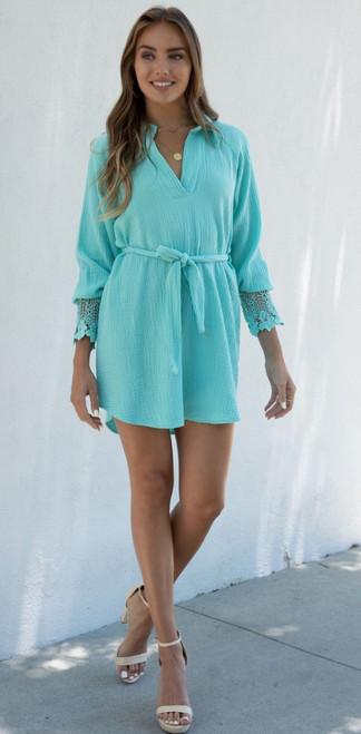 Lace Cuff Cotton Short Dress