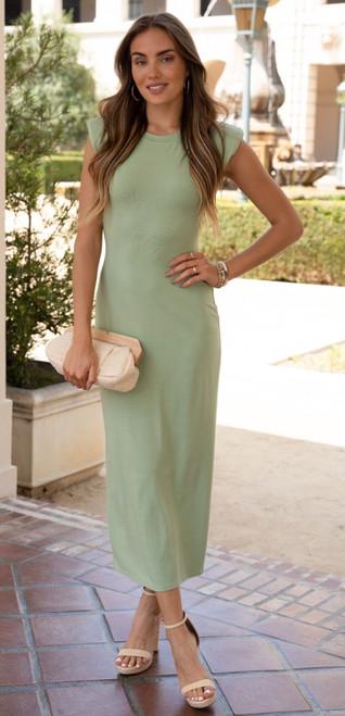 Shoulder Pad Maxi Dress