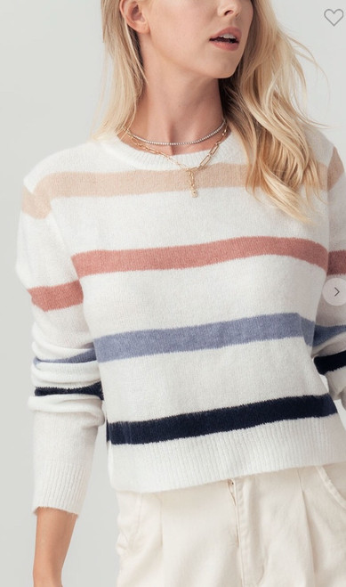 Striped Long Sleeve Crop Sweater