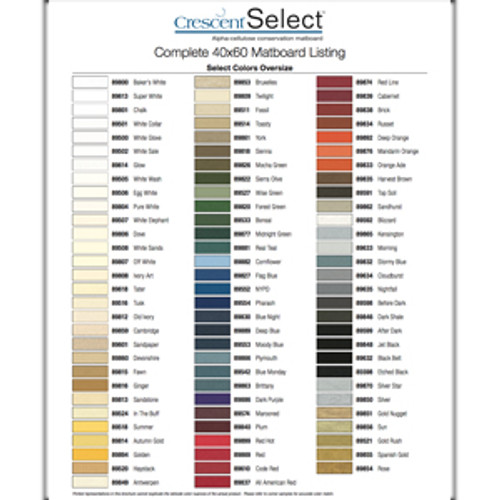 Select Complete Oversized Matboard Listing