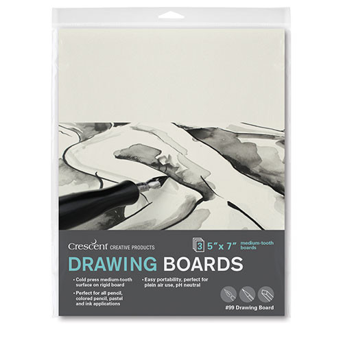 Crescent's most popular illustration board. Warm white drawing surface is student grade, best for pencil, colored pencil, pastel, ink and light collage. Warp resistant.