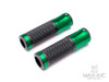 """Retro Green Anodized CNC Machined Aluminum / Rubber Hand Grips - 7/8"""" (22mm)"""