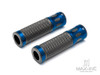 """Oval Cut Blue Anodized CNC Machined Aluminum / Rubber Hand Grips - 7/8"""" (22mm)"""