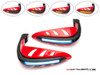 Red Universal LED Handguards with Integrated Daytime Running Lights + Turn Signals - Ice Blue / Amber