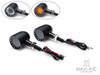 Black Bobber Alloy Integrated LED Daytime Running Lights + Turn Signals